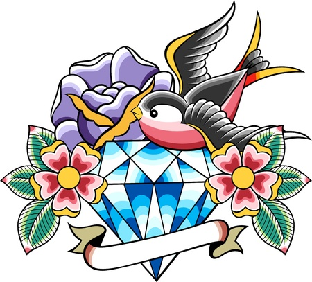 diamond clip art: classic vintage tattoo