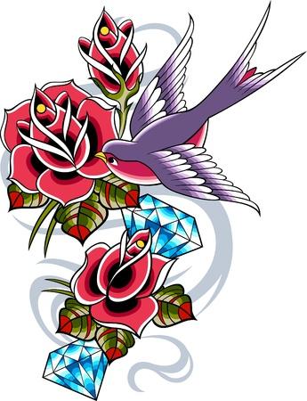 tatouage oiseau: tatouage vintage classique