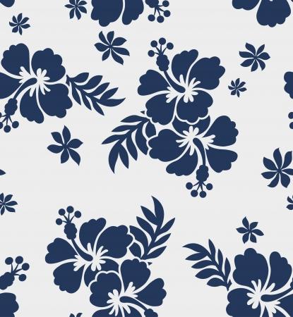 pattern: naadloze hibiscus bloem patroon Stock Illustratie