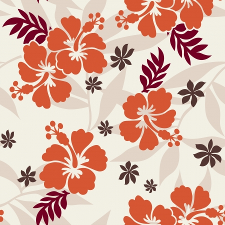 seamless hibiscus flower pattern Vector
