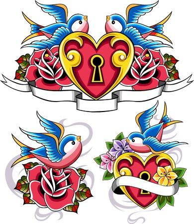 veréb: klasszikus veréb rózsa és szív embléma Illusztráció