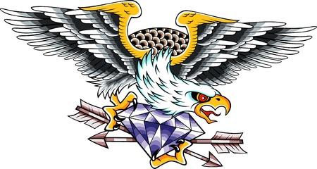 swoop: tatuaje de �guila  Vectores