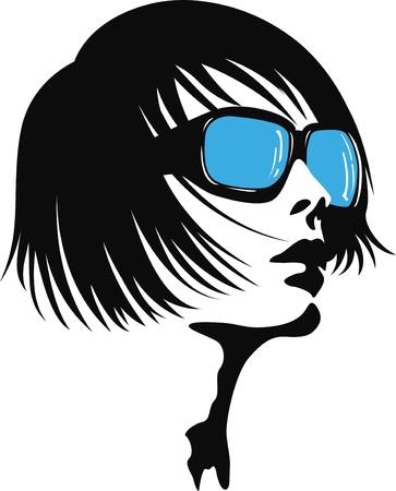 female face closeup: woman face pop art Illustration