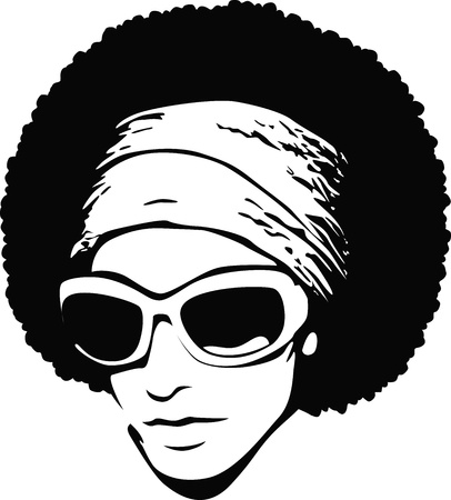 stock clip art icon: woman afro hair
