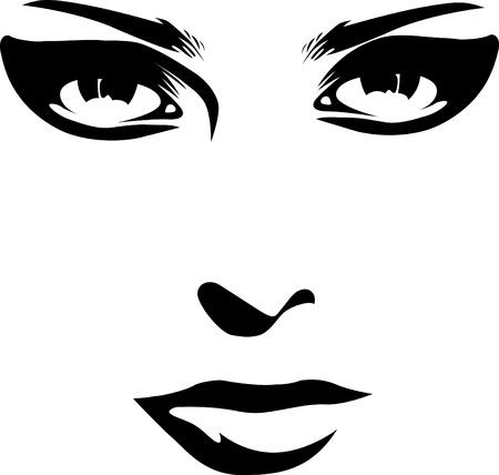 woman face features closeup Stock Vector - 10719231