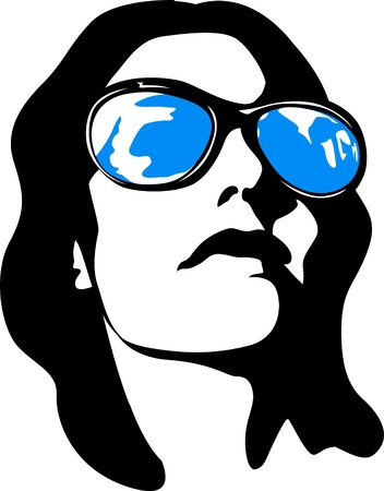 stock clip art icon: woman face pop art Illustration