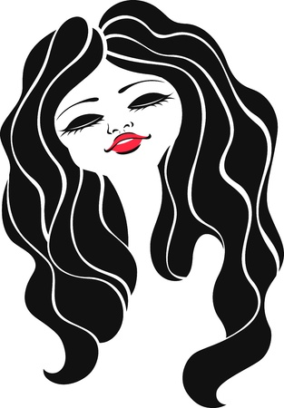 stylish chinese woman face design Vector