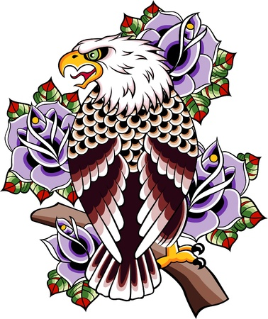 eagle symbol: wild eagle vintage tattoo Illustration