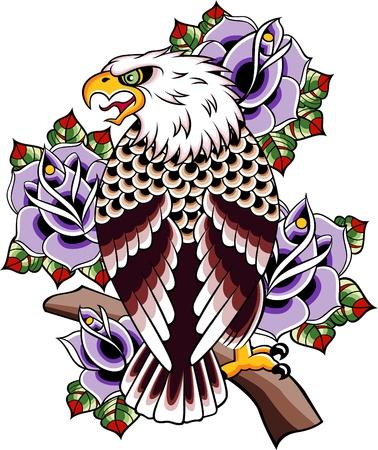 wild rose: wild eagle vintage tattoo Illustration