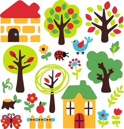 garden cartoon set Vector