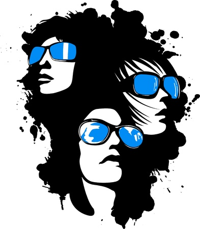 stock clip art icons: distressed woman pop art face