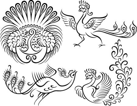 scroll tracery: bird peacock style tattoo