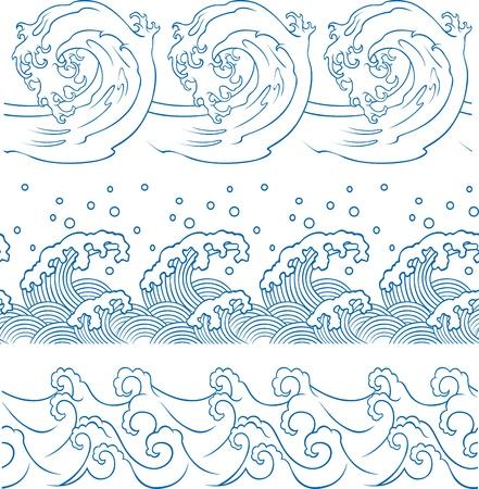 물결: 바다 파도 반복 된 패턴 일러스트
