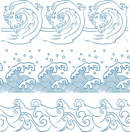 ocean wave repeated pattern Vector
