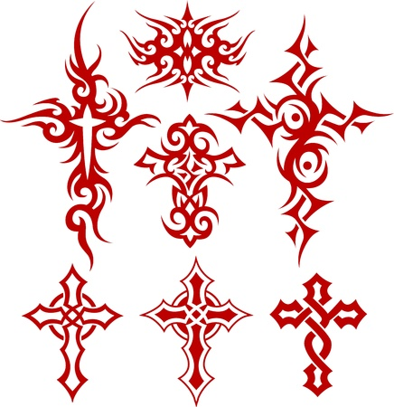 spiritual growth: tribal scroll cross symbol Illustration