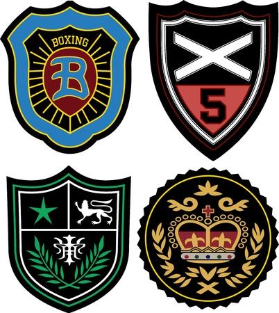 king crown laurel icon round: police emblem badge set