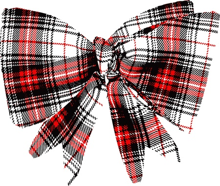 chequered ribbon: bow illustration Illustration