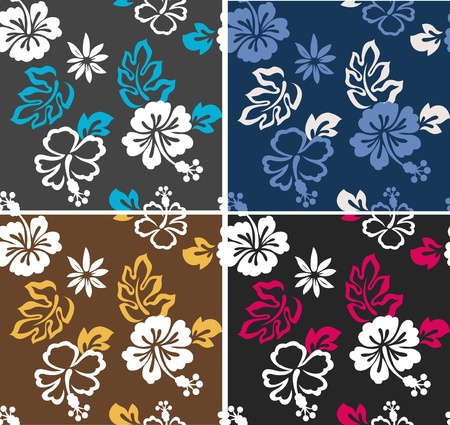 hibiscus summer surf repeated pattern Stock Vector - 11267369