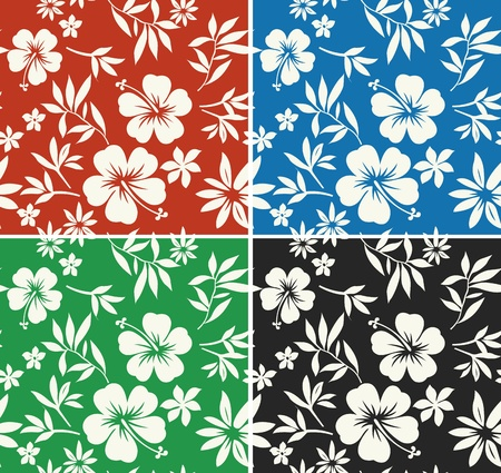 hibiscus summer surf repeated pattern Vector