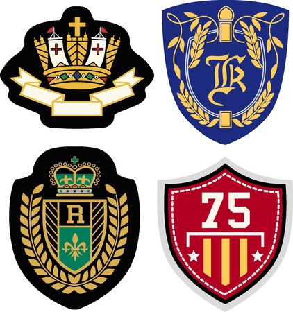 king crown laurel icon round: royal badge design