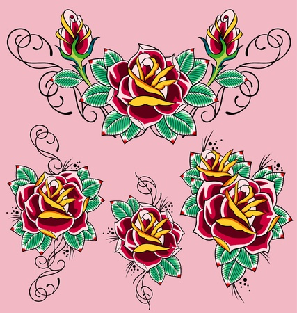 scroll rose decorative element Vector