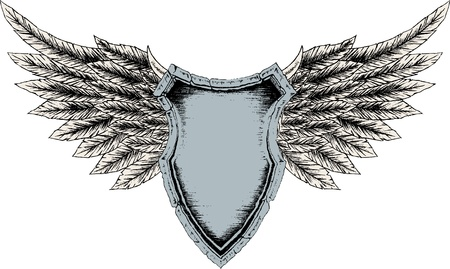 shield with wings: classic royal shielding Illustration
