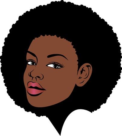 african woman face: afro lady faccia illustrazione