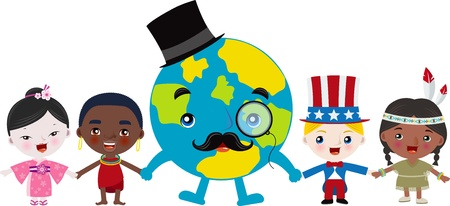 Multicultural Kids With Mr  Earth Vector