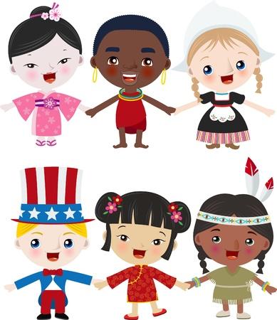 paix monde: Enfants Multicutural Illustration