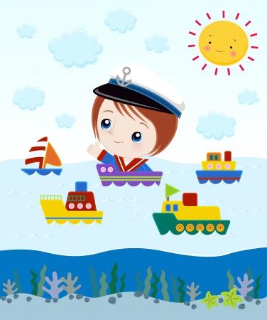 船の中で小さな船長