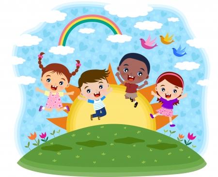 enfant qui joue: Les enfants multiculturelles sautant sur la colline Illustration