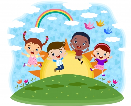 child learning: Multicultural children jumping on the hill
