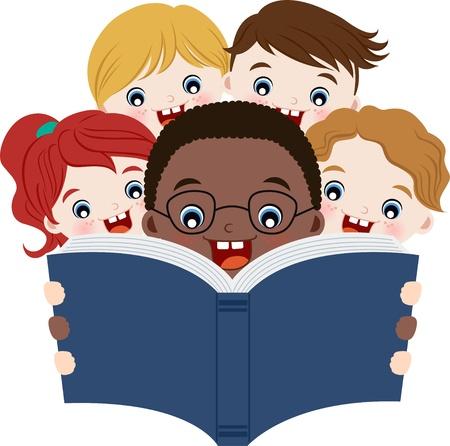 niños leyendo: Los niños multiculturales lectura de libros Vectores
