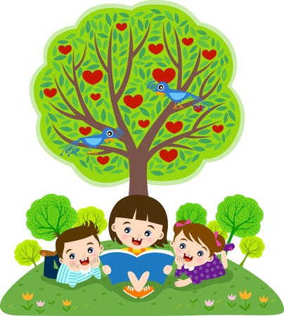group study: Children reading book under apple tree