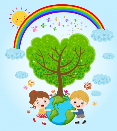 Children holding earth with love Vector