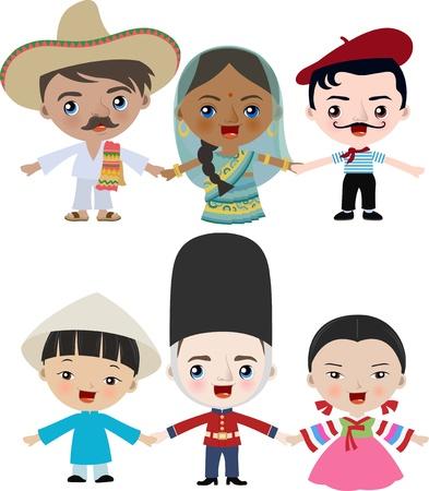 les enfants multiculturelles tenant par la main Vecteurs