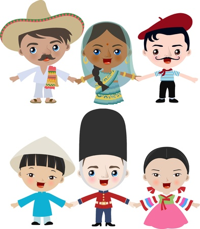 multiracial: multicultural children holding hands