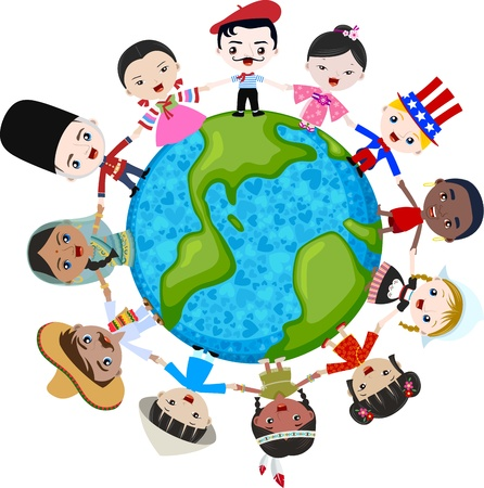 world group: multicultural children on planet earth, cultural diversity Illustration