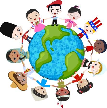 multicultureel: multiculturele kinderen op de planeet aarde, de culturele diversiteit Stock Illustratie