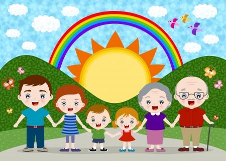 familia unida: gran familia feliz Vectores