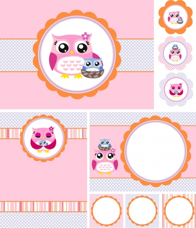 Owl baby shower card illustration Vector