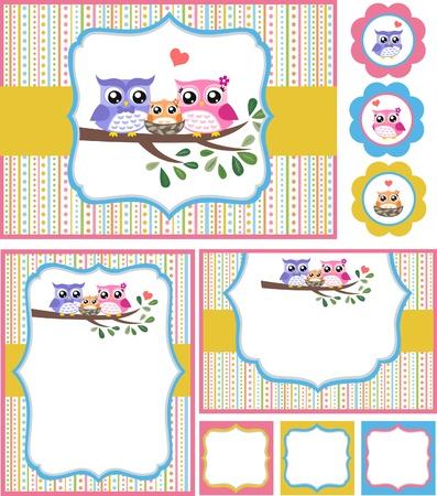sowa: Dziecko Owl prysznic ilustracja karta