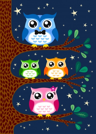 family owl portrait  Vector