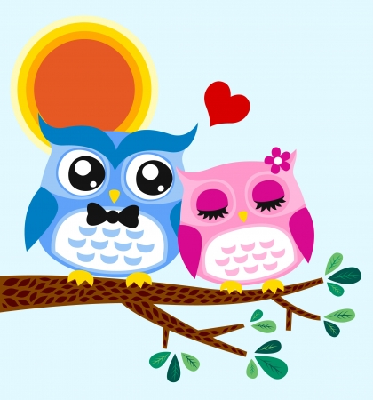 father s day: owl couple illustration