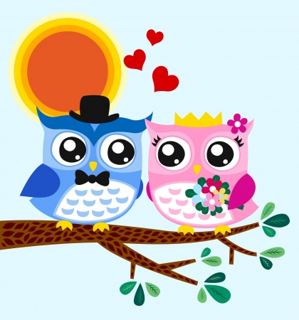 owl on branch: owl bride and groom