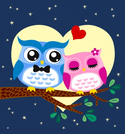 owl couple illustration  Stock Vector - 14557851