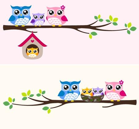 sowa: ilustracja rodzina sowa