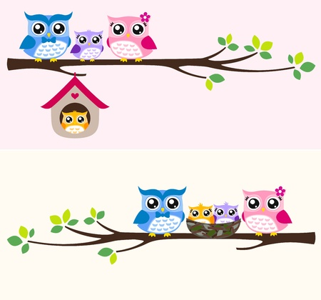 owl illustration: owl family illustration