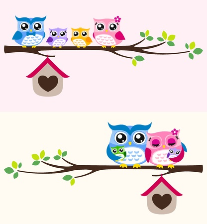 owl family illustration Vector