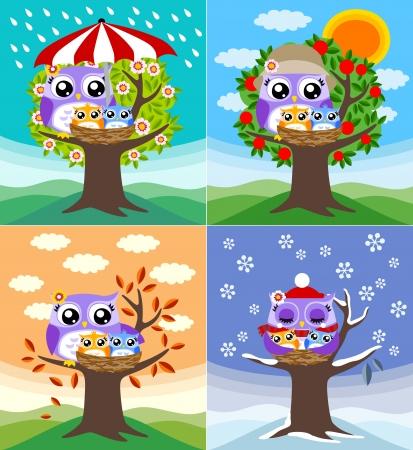 season greetings: hiboux en quatre saisons